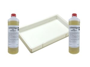 Reinigungs-Set für Edelstahl-Roste, Wanne + 2 Liter Reiniger